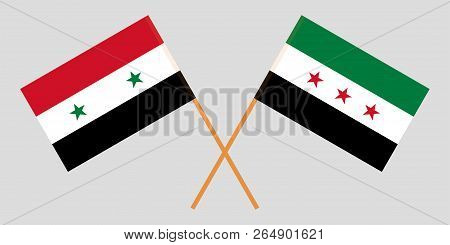 Crossed Flags Of Syrian Arab Republic And Syrian National Coalition. Official Colors. Correct Propor