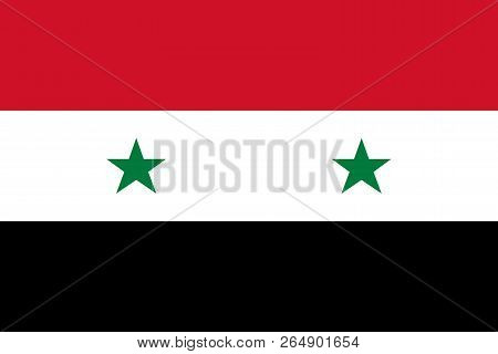Syria. Government Flag Of Syrian Arab Republic. Official Colors. Correct Proportion. Vector Illustra