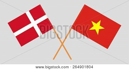 Socialist Republic Of Vietnam And Denmark. The Vietnamese And Danish Flags. Official Colors. Correct