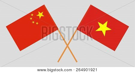Socialist Republic Of Vietnam And China. The Vietnamese And Chinese Flags. Official Colors. Correct