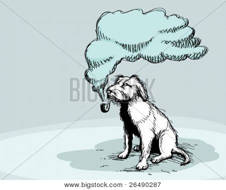 smoking dog.