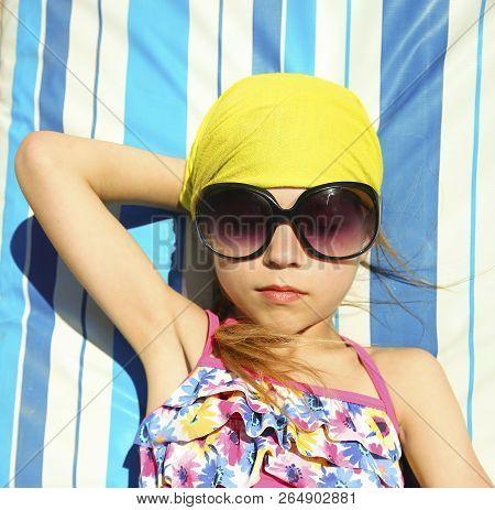 Little Child Girl On The Beach Seashore