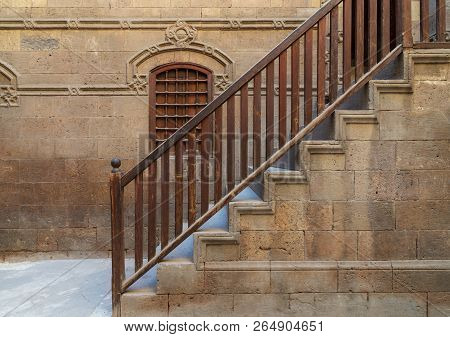 Staircase With Wooden Balustrade Leading To Zeinab Khatoun Historic House, Darb Al-ahmar District, O