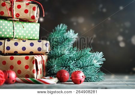 Merry Christmas And Happy New Year. Christmas Tree Toys, Christmas Tree And Christmas Gifts On Dark