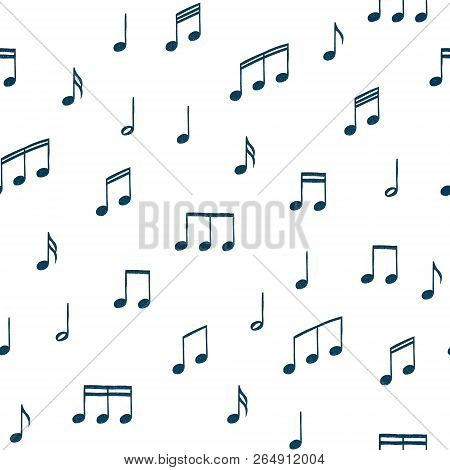 Music Notes Pattern. Music Doodles Background. Piano Keys. Treble Clef. Hand Drawn Effect Vector. G-
