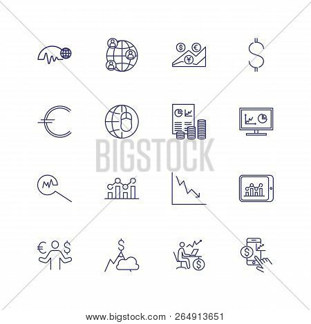 Financial Analysis Line Icon Set. Financier, Broker, Expert. Business Concept. Can Be Used For Topic