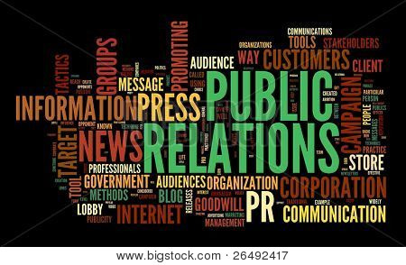 Public relations concept in word tag cloud on black background poster