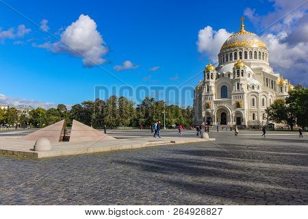 Naval Cathedral on the Anchor Square city of Kronstadt poster