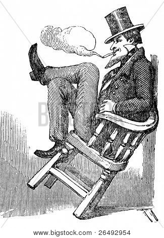 Taking an after dinner whiff at Charleston, Carolina. Engraved by anonymous engraver and published in the  Illustrated London News, United Kingdom, 1856.