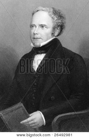 William Thomas Brande (1788-1866). Engraved by C.W.Sharpe and published in Chemistry, Theoritical, Practical & Analytical, United Kingdom, 1860.