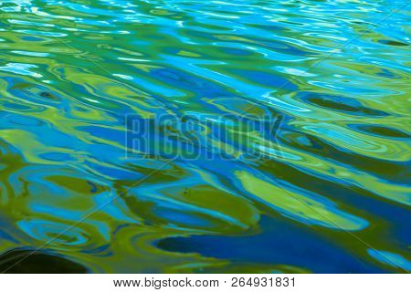 Ibrant Multi Colored Ripples And Waves Of Water With Shades Of Blue, Aqua And Bright Green, Backgrou
