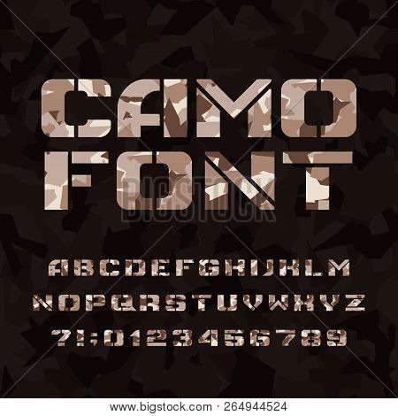 Camo stencil alphabet font. Type letters and numbers on a dark camouflage background. Vector typescript for your design. poster