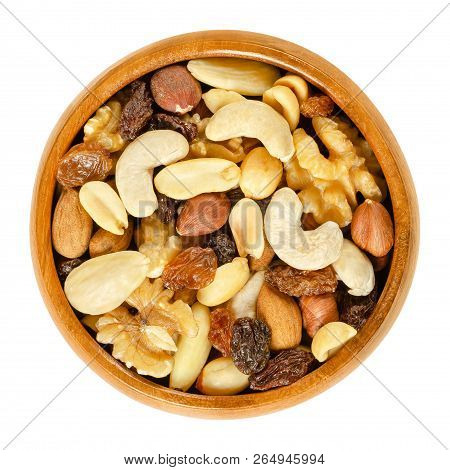 Student Food In Wooden Bowl. Student Fodder. Snack Mix Of Dried Almonds, Cashews, Peanuts, Walnuts,