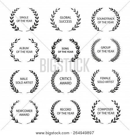 Music Awards. Set Of Black And White Silhouette Award Wreath. Vector Illustration.