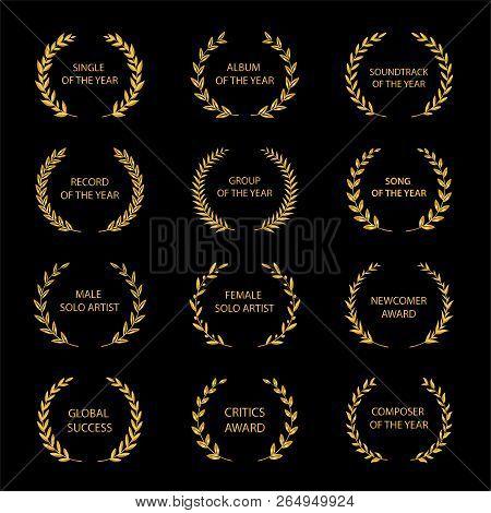 Music Awards. Gold Award Wreaths On Black Background. Vector Illustration.