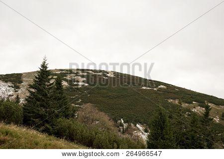 Zamotska Hola Hill On Nizke Tatry Main Ridge In Slovakia During Cloudy Autumn Day