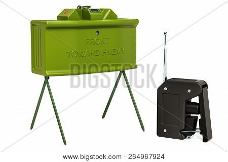 Anti-personnel Mine With Remote Control, 3d Rendering Isolated On White Background