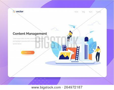 Content Management Concept In Flat Design. Creating, Marketing And Sharing Of Digital - Vector Illus