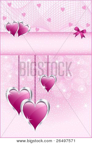 Pink Love Hearts And Bow