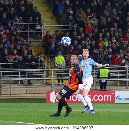 Kharkiv, Ukraine - October 23, 2018: Kevin De Bruyne Of Manchester City (r) Kicks A Ball During The