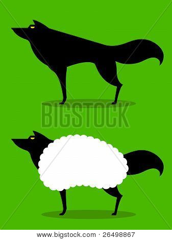 Wolf In Sheeps Clothing, cartoon depiction of this idiom with wolf in silhouette poster
