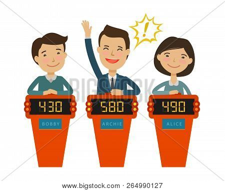 Quiz Show, Game Concept. Players Answering Questions Standing At Stand With Buttons. Vector Flat Ill