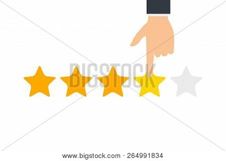 Hand And Five Stars Customer Rating. Business Success Five Stars Rating Feedback Ranking Opinion.