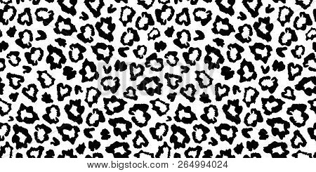 Black And White Leopard Skin Fur Seamless Pattern. Great For Classic Animal Product Design, Fabric,