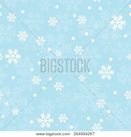 Blue Christmas Snowflakes Seamless Pattern. Great For Winter Holidays Wallpaper, Backgrounds, Invita