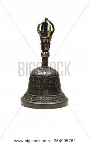 Varja Paired With Bell Used For Drive Out Evil Spirits In Tantric Buddhist Ritual. Isolated Over Whi