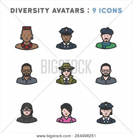 Avatar Icons Depicting People From Different Occupations, Cultures, Races, Nationalities, And Religi