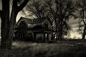 haunted house, as I was told by the locals. Shot in rural Wyoming. A dark, monochrome HDR image with