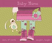 Baby girl arrival announcement card with plush rabbit poster