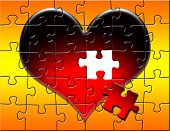 Puzzle of a large red heart on an orange and yellow gradient background with a piece missing. poster