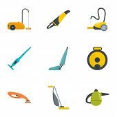 Carpet sweeper icon set. Flat set of 9 carpet sweeper vector icons for web design poster