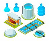 Water cleaning. Watering treatment waste separation transport chemical industrial water purification vector isometric pictures. Illustration of isometric reservoir and separator for water system poster