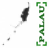 Halftone map of Palau Islands and scratched caption. Vector green title with corners and scratched rubber texture. Halftone map of Palau Islands designed with black pattern of circles. poster