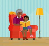 Afro american grandmother and granddaughter are sitting in a chair. Grandmother is reading a book to her granddaughter.  Vector flat style illustration poster