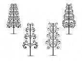 Set of Luxury Christmas Tree on white background for Christmas, Winter & other occasions. poster