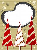 Xmas trees in red & white color with copy space, floral design  for Christmas & other occasions. poster