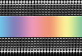 Abstract illustration of silver and black mesh on a horizontal axis with a soft rainbow spectrum central section. poster