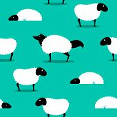 Wolf In Sheeps Clothing seamless Background, wolf dressed in sheep fleece hiding out in the flock poster
