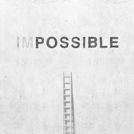 Illustration Of Concrete Wall With Ladder And Word Possible On Background