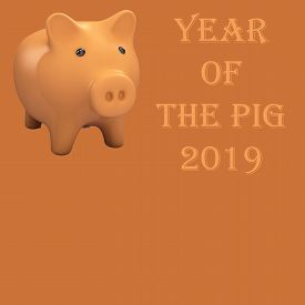 Pig Piggy Bank On The Brown Background.3d. Symbol Of 2019