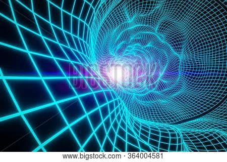 Green Infinite  Round Tunnel Of Shining Electronic Lines On Black Background. 3d Rendering, Glowing