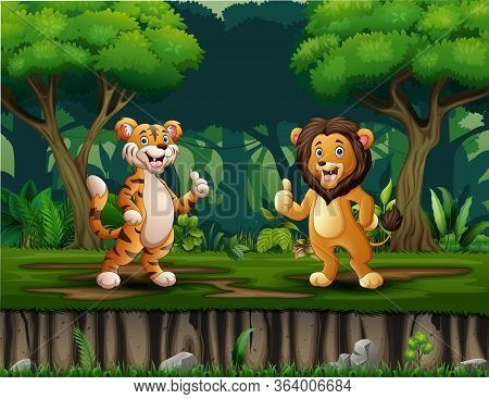 A Lion And Tiger Giving Thumb Up In The Middle Of Forest