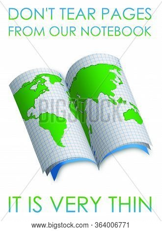 Save Our Planet. Scouring School Notebook With A Picture Of The Continents And Continents Of The Ear