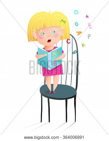Little Girl Reading Abc Book Aloud, Standing On Chair. Fun Humorous Child Study To Read Book, Adorab