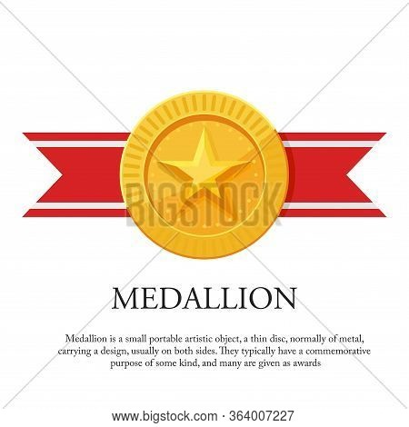 Vector Illustration Of A Medal With Star Ornaments And Red Ribbons. Suitable For Design Elements Of