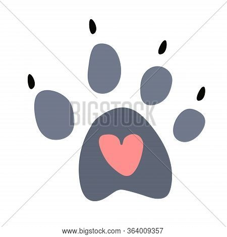 A Cute Trail Of A Wild Animal Or Wolf With A Heart In The Center. Isolated Object On A White Backgro